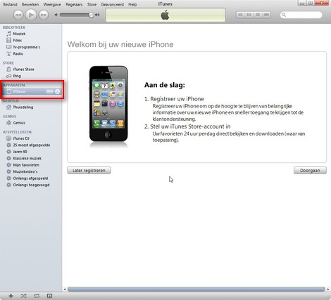 De iPhone, iPad en Ipod worden automatisch door iTunes herkend