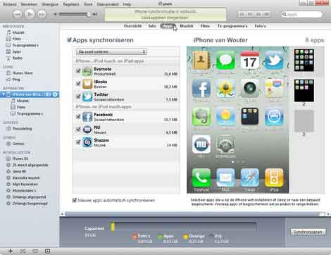 Een back-up maken van de apps op de iPhone