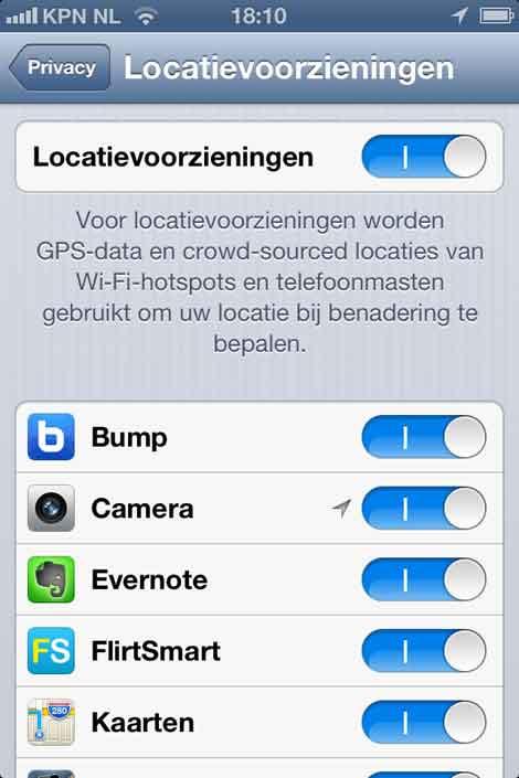 locatie aan op iphone
