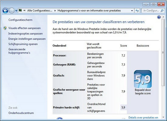 windows prestatie index met harde schijf