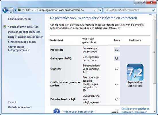 windows prestatie index met ssd