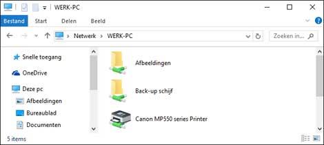 een gedeelde printer zichtbaar in het thuisnetwerk