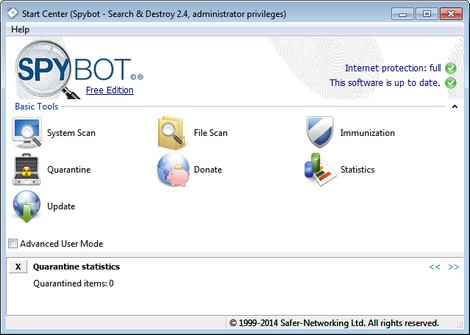 spyware gratis verwijderen met spybot search and destroy