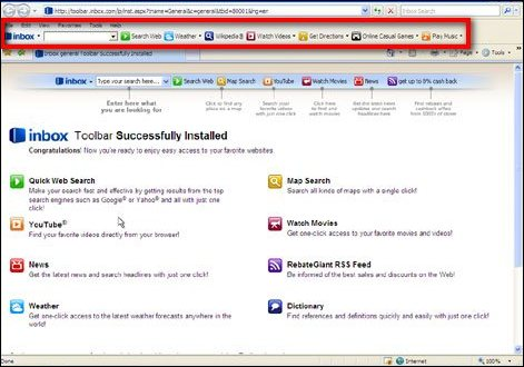 toolbar ofwel werkbalk in internet explorer web browser